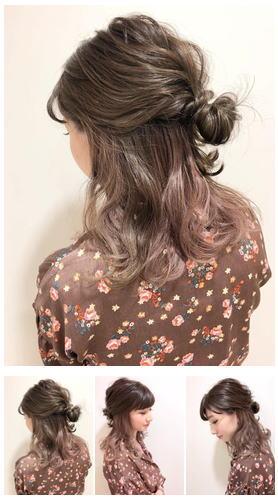 春髪ピンクパープル×インナーカラー/ハーフアップ